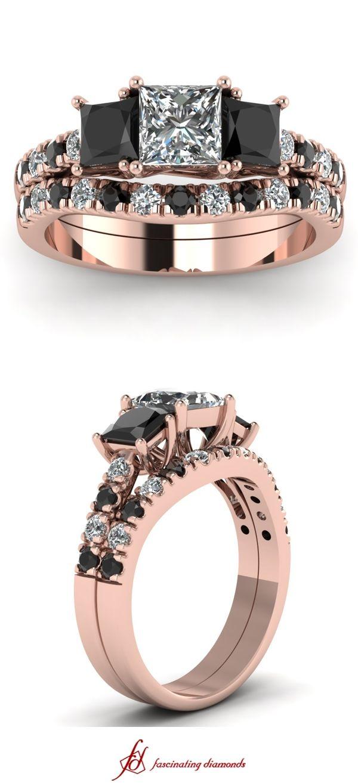 Trellis Accent Set     Princess Cut Diamond Wedding Sets With Black Diamond In 14k Rose Gold