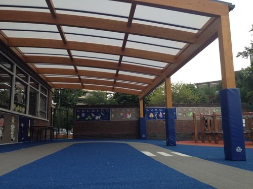 We Installed A X Tarnhow Curved Wall Mounted Canopy At St Georges Church Of England Primary School In June