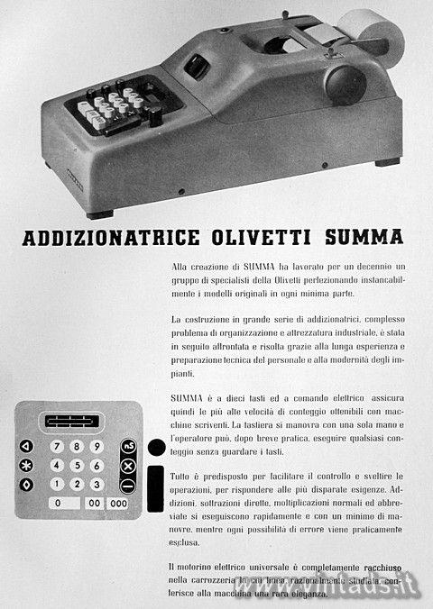 ADDIZIONATRICE OLIVETTI SUMMA, 1940