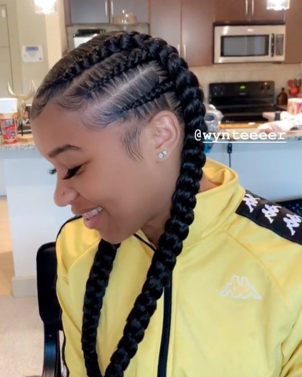 "Celebrity Hairstylist on Instagram: ""Two braids on da sides into two braids  #invisibleponytail #hairbywyn #lahair #lahairstylist #celebrityhairstylist #curlyweave…"" # two Braids with weave"