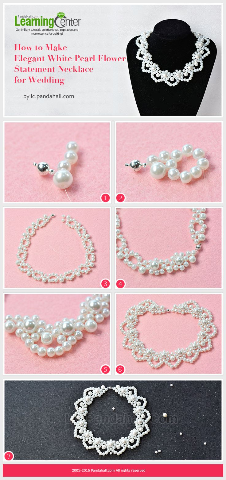 Tutorial on How to Make Elegant White Pearl Flower Statement Necklace for Wedding from LC.Pandahall.com   #pandahall