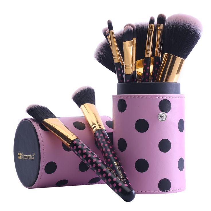 12 pz Capelli Sintetici Pennelli Trucco Professionale Set Viso Bellezza Cosmetici Pennello per il Trucco Spazzole Strumenti + PU Cup