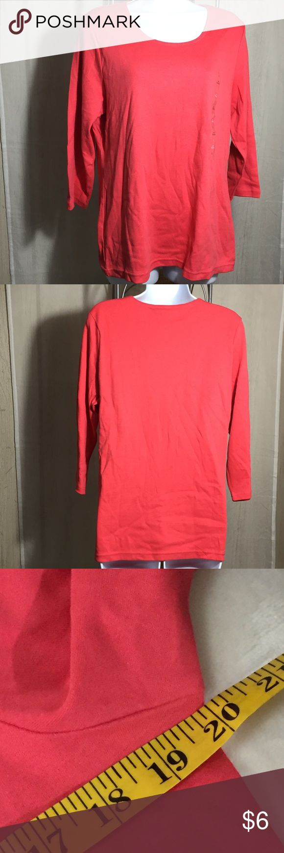 Karen Scott Basic Tee Size L-Bundle Item 3/4 length sleeves  Straight hem Color is Crushed Coral NWT See materials and care on pictures. See measurements on pictures. Karen Scott Tops