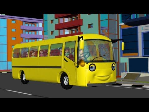The Wheels on the Bus go round and round - 3D Animation English rhyme for children