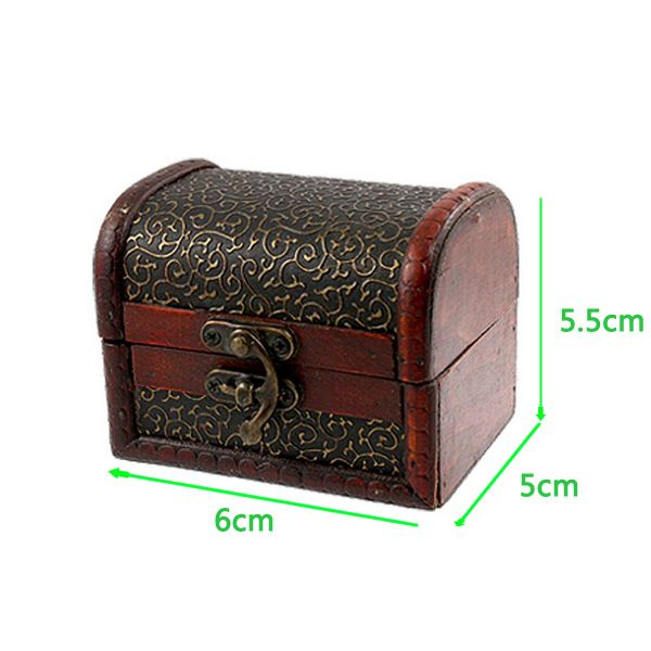 Hot Random Delivery Decorative Wooden Lock Jewelry Storage Box Trinket Container…