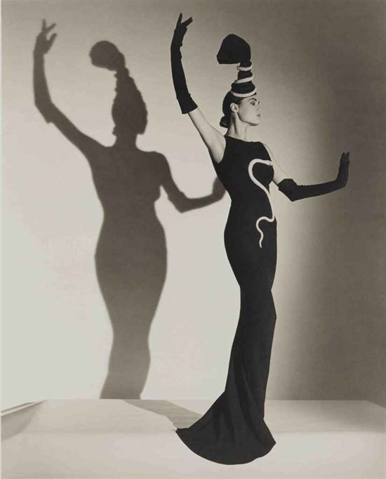 Horst P. Horst, Yasmin Lebon  in a Chanel Evening Dress, British Vogue, London, 1986