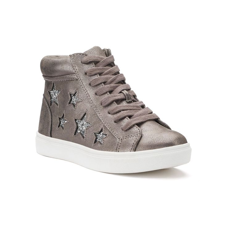 SO® Nellie Star Girls' High-Top Sneakers, Girl's, Size: 12, Light Grey