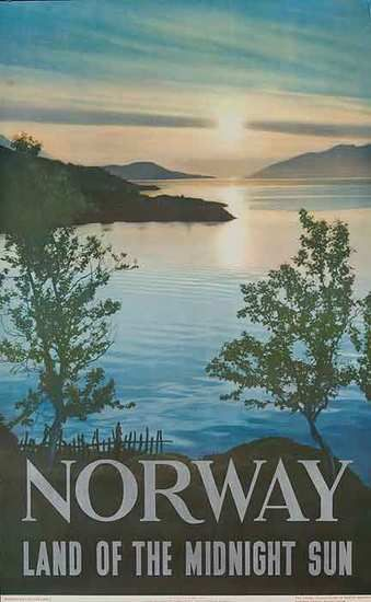 Vintage Travel Poster - NORWAY ♥- The Land of the Midnight Sun - 1950.