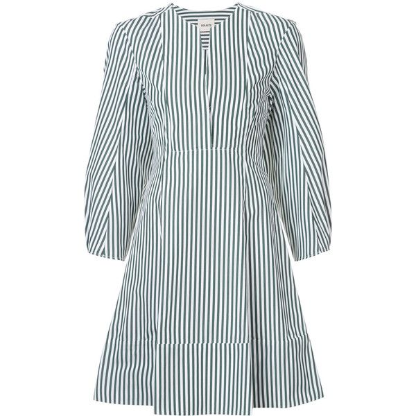 Khaite round neck striped shirt dress (16.585.515 IDR) ❤ liked on Polyvore featuring dresses, green, shirt dress, green dress, striped dress, cotton shirt dress and green color dress