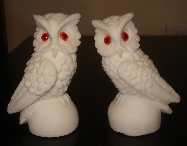 Two White Sand Stone Owl Figurines With Red Eyes Owls Sculpture Art Decor
