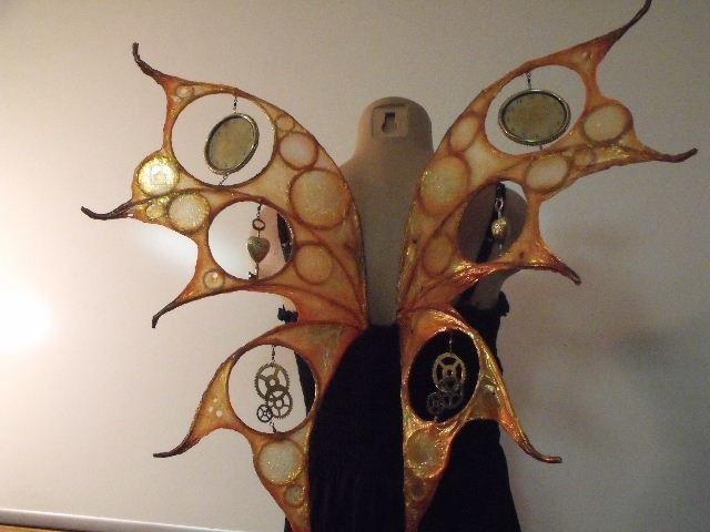 Steampunk Fairy Wings Spinning Clock Gears Keys Hearts Halloween Cosplay. $185.00, via Etsy.