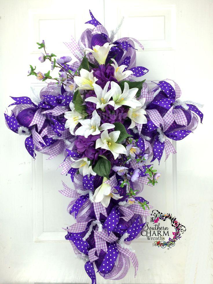 Deco Mesh Easter Cross Wreath -Easter Door -Purple - Hydrangeas