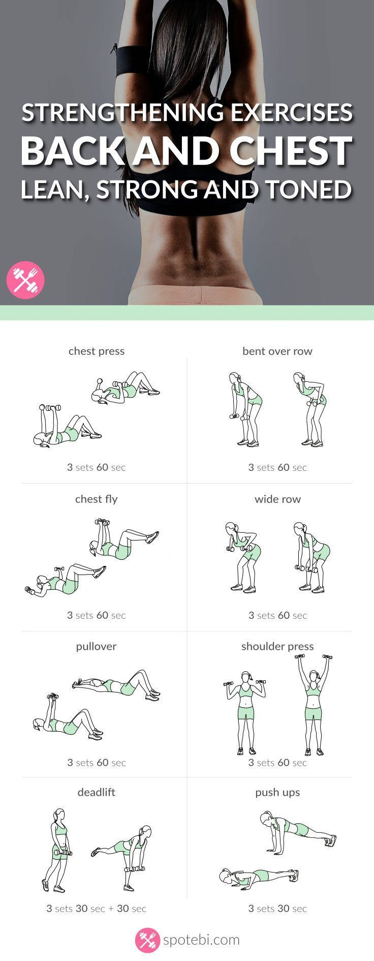 Lift your breasts naturally! Try these chest and back strengthening exercises for women to help you tone, firm and lift your chest and improve your posture. http://www.spotebi.com/workout-routines/chest-back-strengthening-exercises-lean-strong-toned/