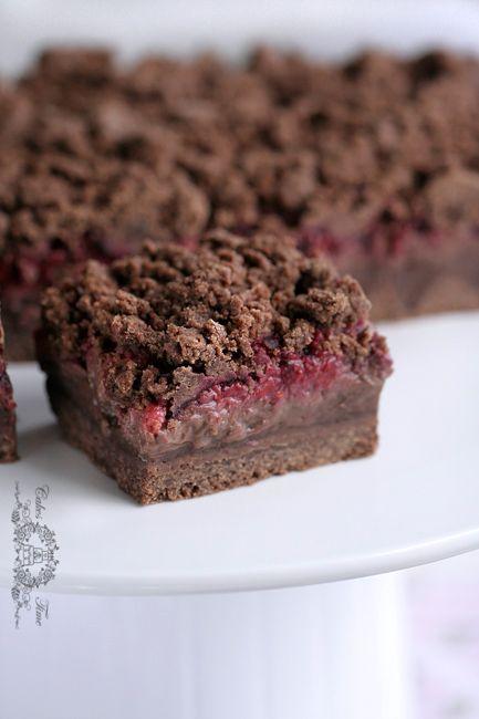 Chocolate slice with custard and raspberries