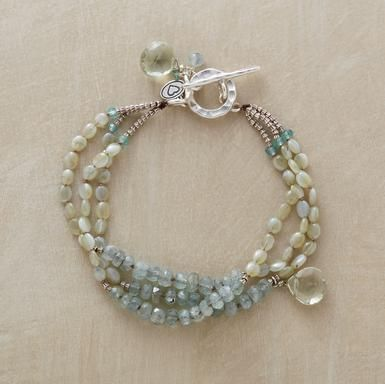 Pale Palette Bracelet pastel amethyst briolettes drip from processions of chrysoberyl and moss aquamarine. $238 Sundance Catalog
