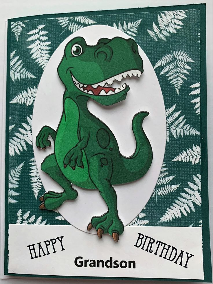 Dinosaur birthday card happy birthday grandson dinosaur