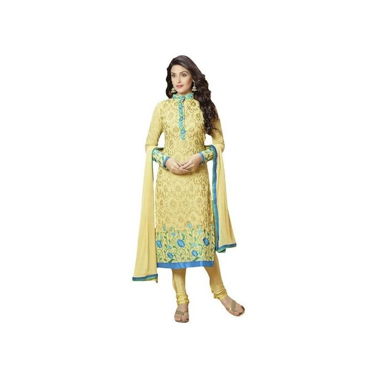 #Janvi #Yellow #Embroidered #Semi-#Stitched #Salwar #Suit  shop now--->> http://goo.gl/q793Wu