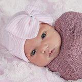 Pink and White Striped Nursery Big Bow with Gem Newborn Girl Hospital
