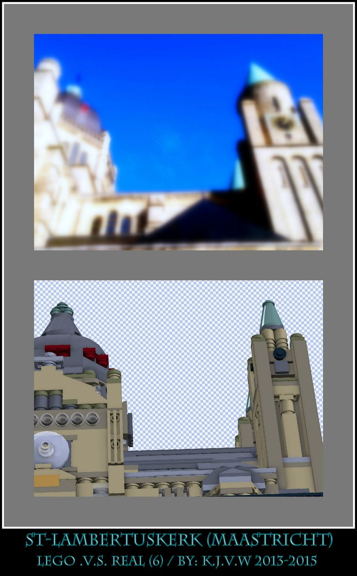 [ st-lambertuskerk lego .v.s. real part 6 ]  6 of the 19 photo's from my collage of St-Lambertuskerk (Maastricht) ((Non-lego))
