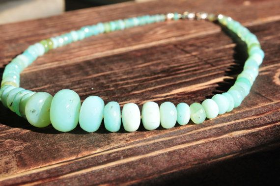 Black Friday Etsy, Luxury Gifts, Peruvian Opal Statement Necklace, Opal Jewelry, Mint Green Statement Necklace, Luxury Gifts for Her op Etsy, 524,53 €