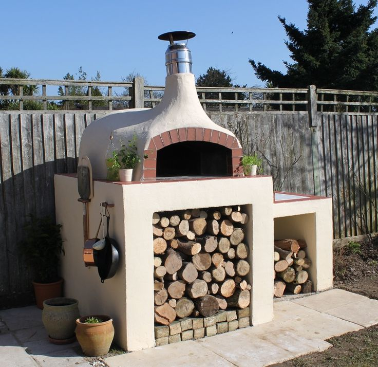 stucco style wood fired oven