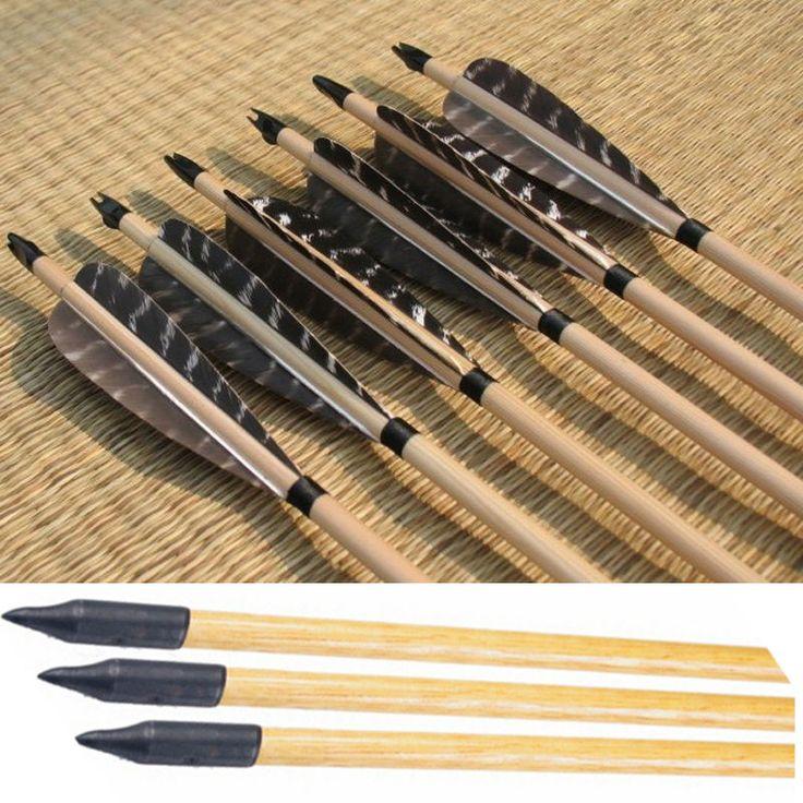 6 шт. стрельба из лука деревянные стрелы 80 см традиционные деревянные стрелка…