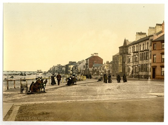 Redcar promenade Coatham end.  Showing the old pier in the distance.