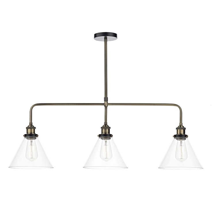 Buy dar lighting ray 3 light bar pendant antique brass clear online from the lighting company
