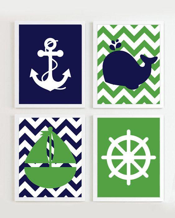 IMPRESIONES náuticas Chevron guardería náutica por PrincessSnap