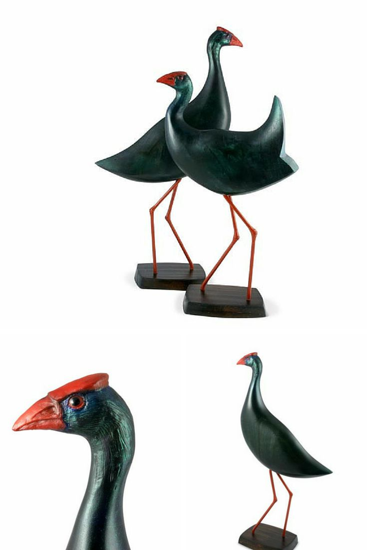 With their eye catching scarlet bill and legs, iridescent blue plumage and snow white undertail, these birds are unforgettable. This hand carved bird captures the essential character and personality of the beautiful Swamp Hen. The body of the bird is crafted from sustainable Camphor Laurel.