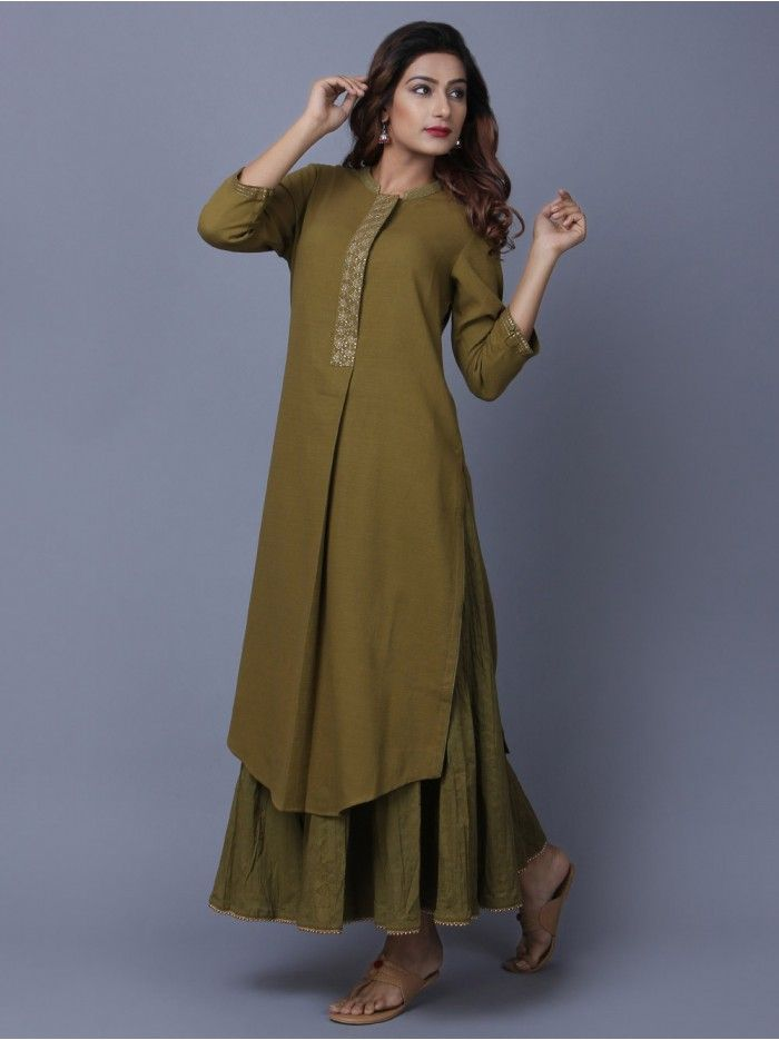 Olive Green Khadi Cotton Embroidered Kurta