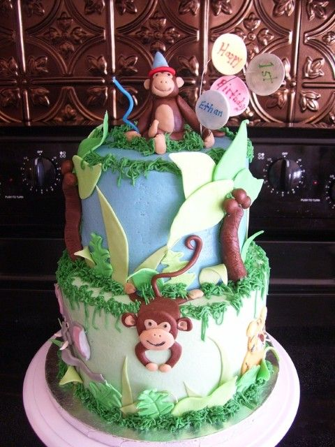 jungle birthday party ideas | Jungle birthday cake is suitable for kids' birthday especially boys ...