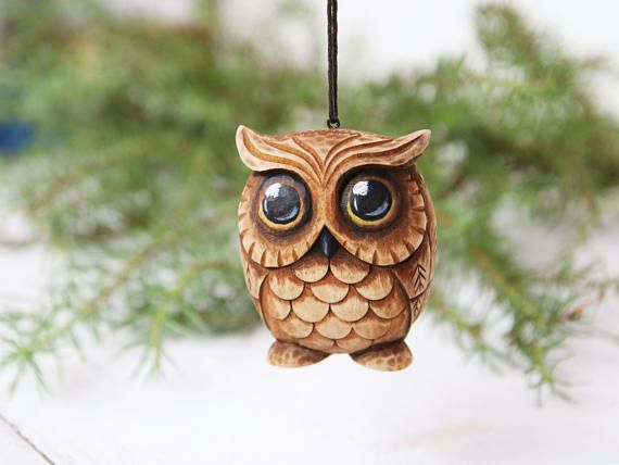 Wooden Owl Ornament - $33 Etsy Wood Carving Hand Carved Owl Figurine Ornament Christmas Owl Woodcarving Carved Bird Ornaments Owl Gift Owl Miniature