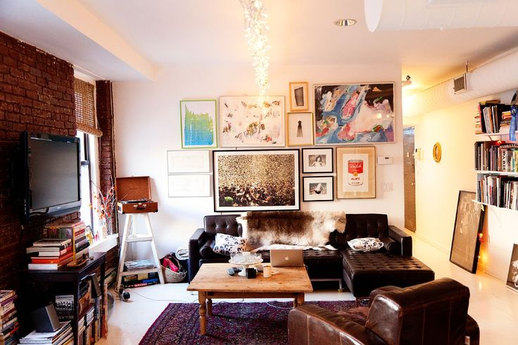 colin tunstall at home, New York: Colin O'Donoghue, Wall Of Frames, Saturday Nyc, Leather Couch, Wall Hanging, Living Spaces, Colin Tunstal, Eclectic Living Rooms, Pictures Wall
