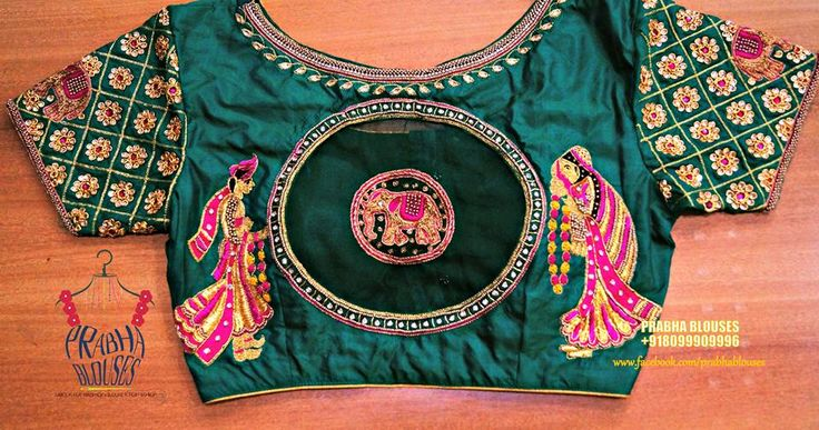Beautiful bridal designer blouse with bride and bride groom design hand embroidery thread work. 01 August 2017