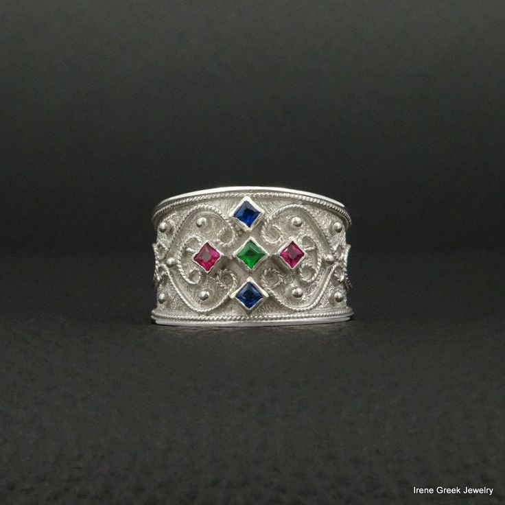 RUBY EMERALD SAPPHIRE BYZANTINE 925 STERLING SILVER PLATINIUM PLATED GREEK RING #IreneGreekJewelry #Cocktail