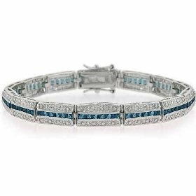 Elegant Sterling Silver Dark Blue cz Tennis Bracelet, (tennis bracelet, bracelets, bracelet, silver and diamond bracelets, lovely) jewelry
