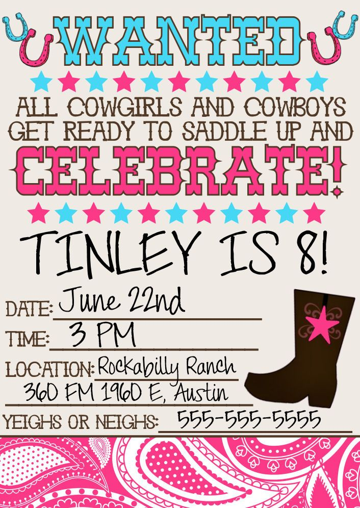 Best 25 Cowgirl Birthday Invitations Ideas On Pinterest Horse