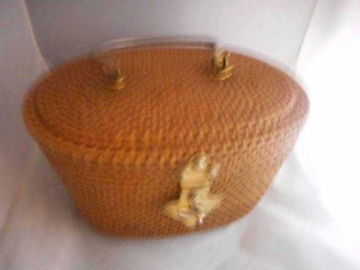 """""""It's in the Bag"""",Handbag, Metal Handles & Accents,Made British Hong Kong,Ritter #ItsintheBag #Vintage"""