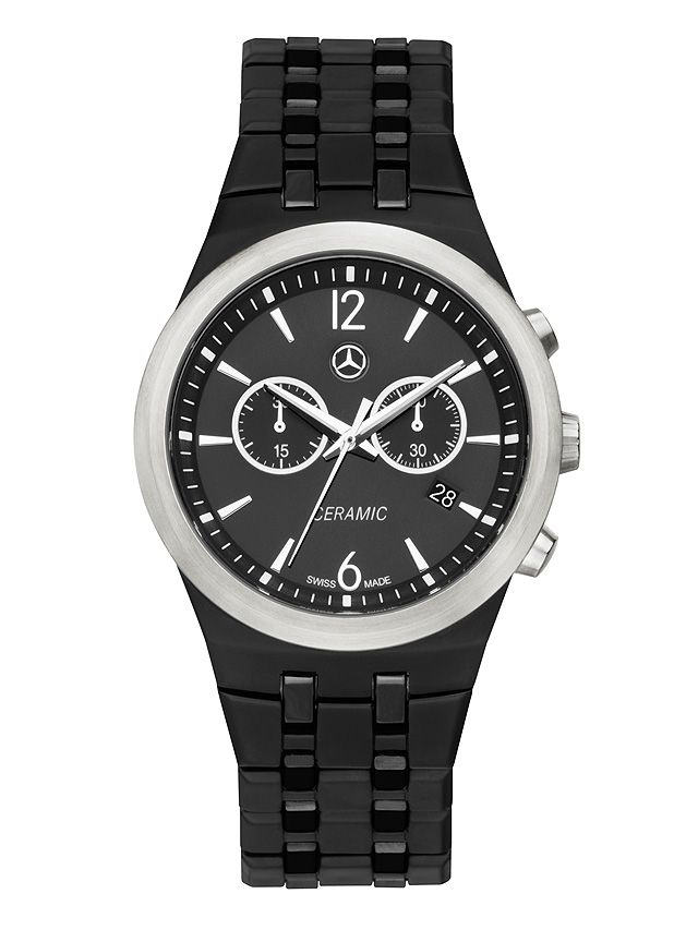 Mens watch, Ceramic black B66952535 Colour:Β Β Β  black/steel grey  This sporty yet elegant quartz watch has a high-quality matt black ceramic case.  As a contrast, the bezel, crown and pusher are in brushed stainless steel. The black dial has a sunray polish  . This decorative polish causes the light falling on the watch to shift around the dial according to the angle of incidence.  The hands feature white luminous detail and the black ceramic bracelet strap has matt and high-gloss links.
