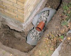 Instalação de um dreno perímetro casa