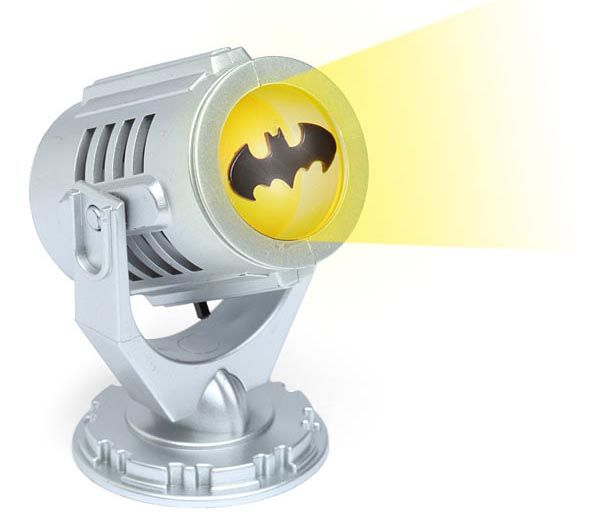 I know a little boy who would like this!!! Mini Batman Bat-Signal... cute night for the superhero temed room :)