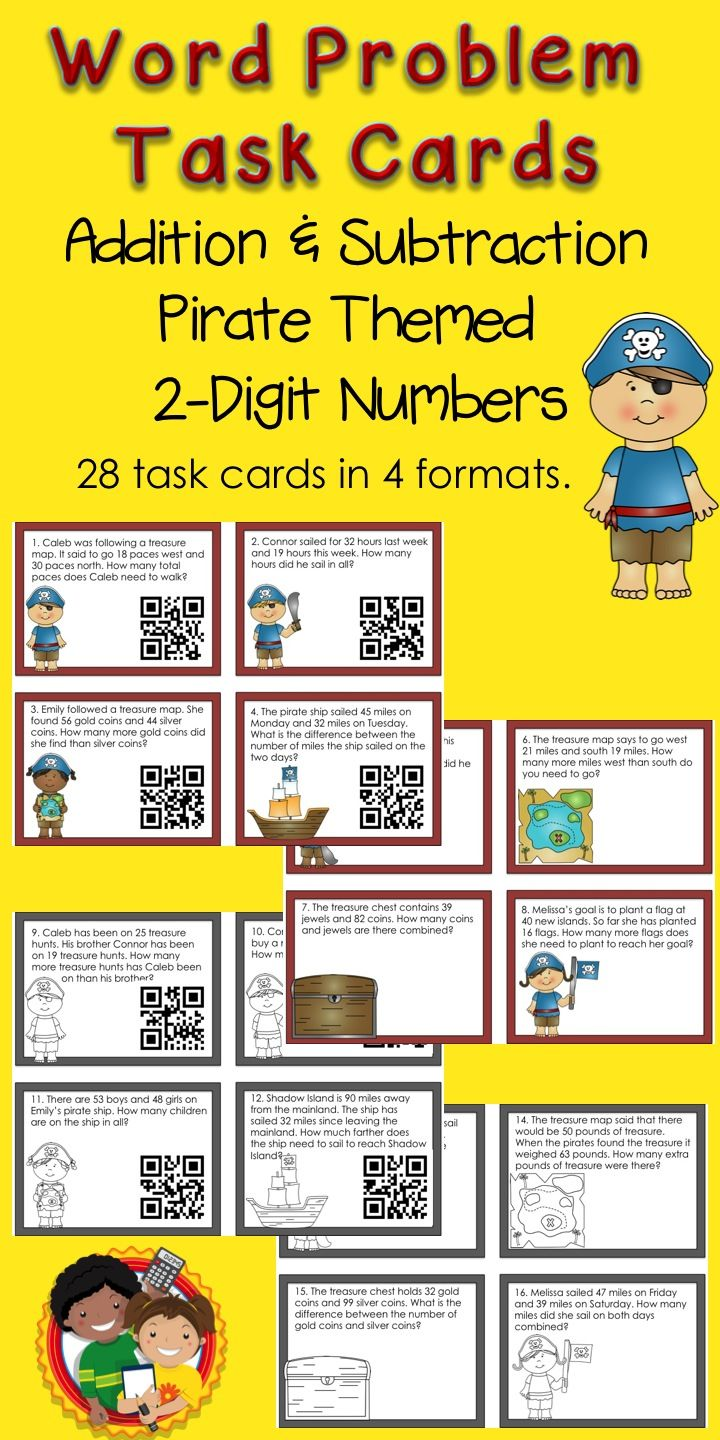 These pirate themed task cards are just what students need to practice solving addition and subtraction word problems. They are available with and without QR codes and in black and white or color versions. Use them in math centers, to play Scoot or solve around the room activities. $