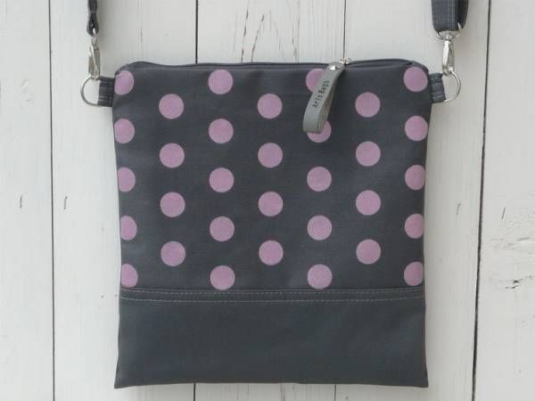 Handmade Canvas Crossbody Bag - Pink Polka Dots Design