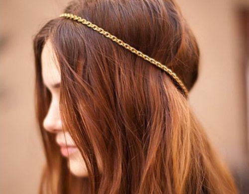 hair: Gold Chains, Chains Headbands, Fashion Beautiful, Head Bands, Hairstyles, Hair Colors, Haircolor, Hair Accessories, Hair Chains