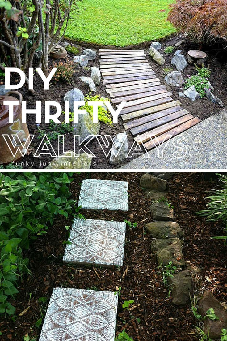 7 thrifty designs for a diy walkway gardens backyards for Easy garden path ideas