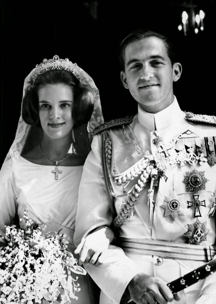GREECE ~ 1964 ~ Queen Anne-Maire and King Constantine II of Greece on their wedding day