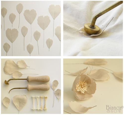 handmade linen blooms created with french flower making tools #millinery #judithm #flowertools