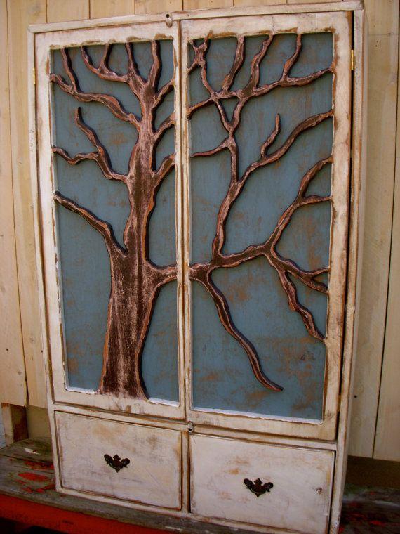 Handmade Furniture - Oak Tree Cabinet - Storage Shelves, Shabby Elegance, French Country