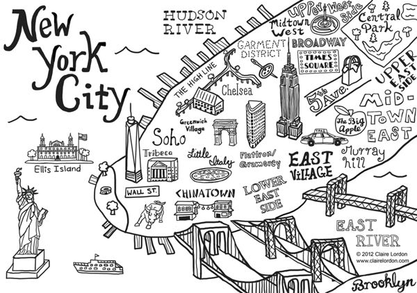 Pin By Kendall Green On Map Pinterest - New york city map drawing